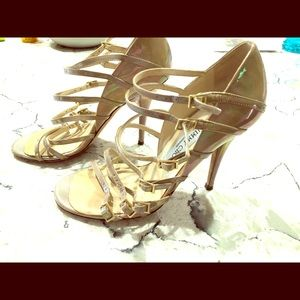 Used Jimmy Choo Nude Patent Strappy Pump Size 36.5